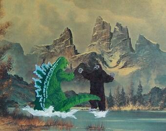 """Art Parody Poster """"Godzilla Meets King Kong...Again"""""""