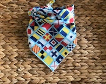 Tie on Nautical Boating Flags Dog Bandana Single fabric