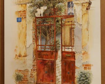 OLD GREEK DOORS, Old Door in Thessaloniki (Upper Side), (Aquarelle) 50x70cm, 2014