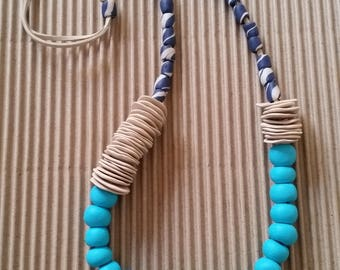 Turquoise beaded necklace - Modern necklace - Fashion jewelry necklace - Statement necklace - Accessories necklace - Polymer clay jewelry