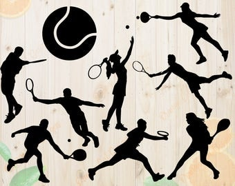 Tennis Svg, Tennis Silhouettes Svg, Dxf, Eps & Png Cutfiles, Tennis players Silhouette files for Cricut, Silhouette cameo, Tennis Bundle