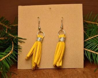 Yellow tassel earrings, bohemian earrings, boho tassel earrings, hippie earrings, mustard tassel earrings, mustard earrings, gift for her