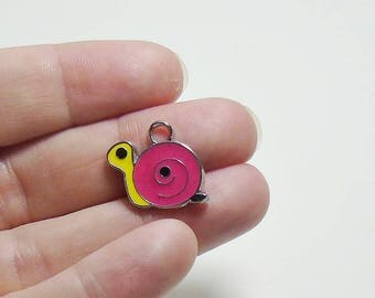 4 Enamel Pink and Yellow Snail Charms