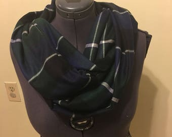 Plaid soft infinity scarf