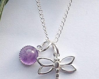 Sterling silver & amethyst dragonfly necklace, outlander, dragonfly jewelry, dragonfly jewellery