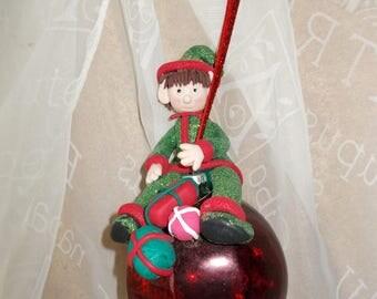 Elf, Santa's helper, Christmas,Xmas,Xmas bauble,Fimo,Glass bauble,Glitter,