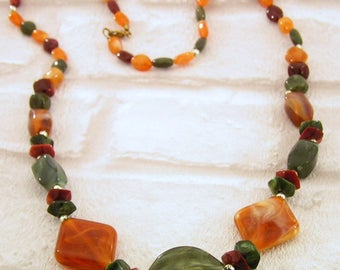 Long Necklace, with Multi Colour Marble Effect Beads