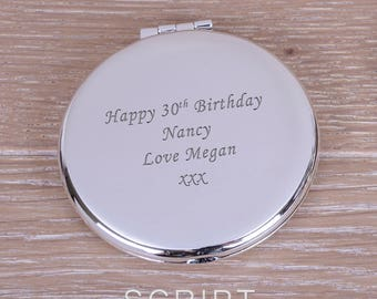 Round Personalised Mirror Compact
