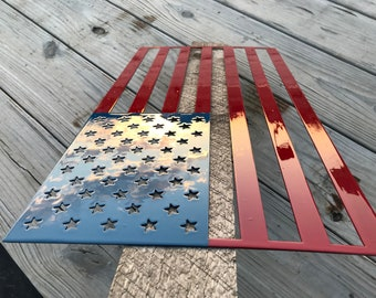 US Flag Painted Metal Wall Art