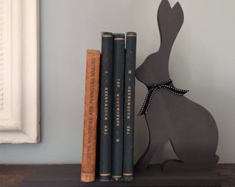 Hand Painted Wooden Hare Bookends