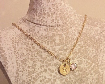 18k gold plated chain with Swarovski birthstone and initial charm necklace.