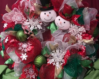 Christmas Wreath With Mr. & Mrs. Snowman and Snowflakes