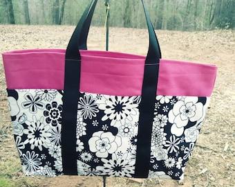 6 pocket tote (pink & black)