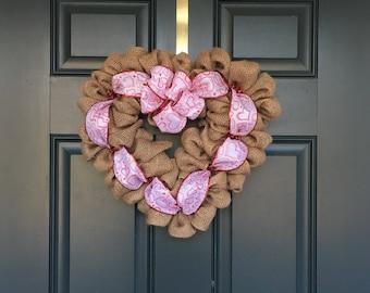Burlap Valentines Day heart wreath