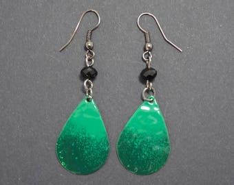 Green and black, enamelled brass teardrop earrings
