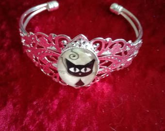Open bracelet cabochon cat