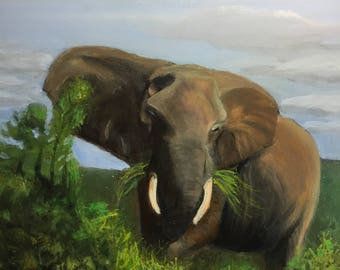 African Elephant Original Painting Fine Art