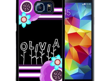 Personalized Rubber Case For Samsung S5, S6, S6 edge, S6 Edge Plus, S7, S7 Edge,  8, 8 plus -  Black Purple Flowers