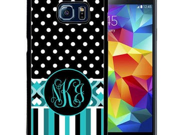 Monogrammed Rubber Case For Samsung S5, S6, S6 edge, S6 Edge Plus, S7, S7 Edge,  8, 8 plus - Blue Strip Geometric