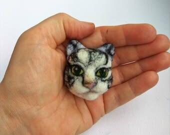 Handmade needle felt brooch pin needle felt Cat Brooch felt cat pin Animal Brooch pin miniature gift for her Felted Wool Jewelry