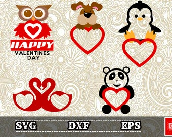 animals san valentines day monogram svg,panda,dog,Penguin,bird,for Cutting Machines, eps, cameo or cricut