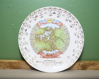Antique Panama Canal Plate 1915 Gately & Fitzgerald Supply Harrisburg PA Christmas 1914