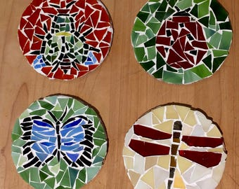 Gorgeous glass mosaic coasters featuring bugs!