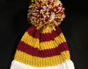 Crochet hat Kansas City Chiefs Pom Pom