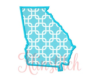 50% Sale!! Georgia State Applique Designs 9 Sizes Embroidery Designs USA State Outline Embroidery PES Embroidery Designs