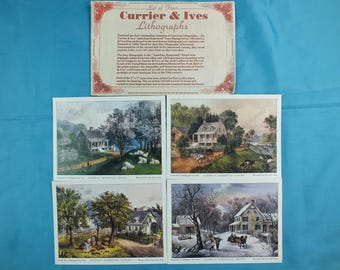 Set of 4 The Seasons Vintage Currier and Ives Lithographs American Homestead 5x7