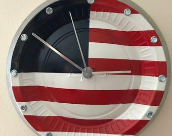 Patriotic USA Flag Chevrolet Pickup Hubcap Clock