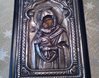 Silver icon - Greece orthodox icon - Christian religious icon - Virgin Mary and baby Jesus - Vintage icon - Gift idea