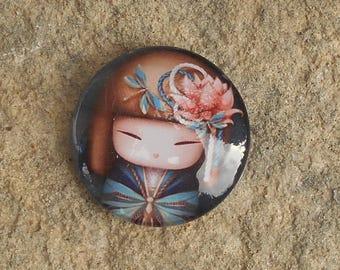 Glass cabochon 20 mm chibi doll