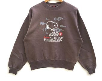 Snoopy Peanuts Sweatshirt brown colour Big Logo Embroidery Sweat Medium Size Jumper Pullover Jacket Sweater Shirt Vintage 90's