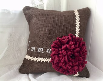 Personalized Burlap Pillow with a Red Crochet flower, Bridesmaid Gift, Red Wedding, Birthday gift, Anniversary gift