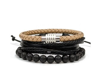 3 Pack Cream Lava Bracelet Set