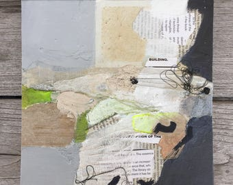 original abstract collage, small collage on canvas panel, 8x8 collage