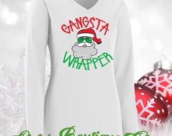 Christmas Shirts Holiday Shirts Gansta Wrapper
