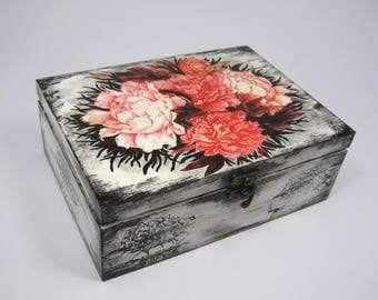 Handpainted white and black wooden box with floral decoupage - flowers, jewellery box, wooden casket, woman gift, storage box, gift for her
