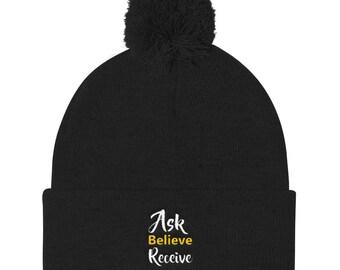 Ask believe receive Pom Pom Knit Cap