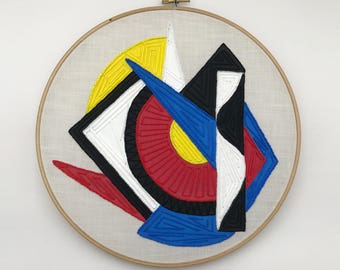 Geometric Hand-Embroidered and Painted Hoop