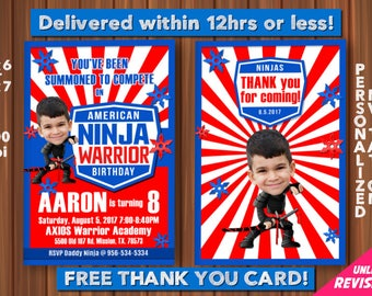 American Ninja Warrior Invitation with Custom Face and FREE Thank you Card! ANW Birthday Australian Ninja Warrior Parkour Obstacle Course