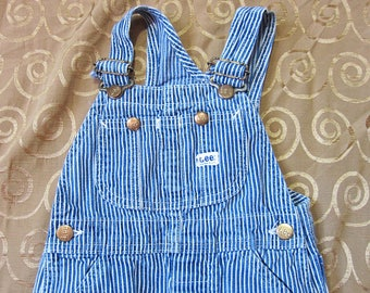 Children's Lee Hickory Stripe Overalls, Excellent / 100% Cotton Made in USA, Conductor Engineer Dungarees