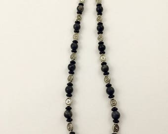 Gray Marbled Stone, Black Glass and Silver Plated Bead Necklace