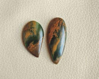 Natural Dark Serpentine Fancy Shape 02 Piece Gemstone Cabochon, Serpentine Stone Weight 75 Carat and Size 46x19x8, 37x20x6 MM Approx.