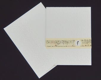 Single Monogram Five Note Card Set - Music