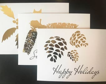 Winter is Here Holiday Trio flat note cards (Set of 9)