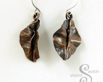 Elegant Antique Finish Copper Leaf Earrings with Sterling Silver Ear-Wires, Great Gift for Nature Lovers