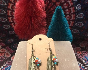 Gold Feather Bead Earrings
