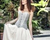 Bohemian wedding light blue cotton satin corset - Vintage wedding overbust corset - Boho chic bride - Modern bridal dress